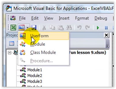 vba excel how to change my userform name