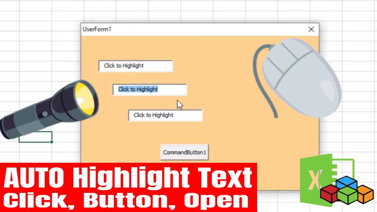 Highlight Userform Textbox in Excel VBA, Highlight All Text On Mouse Click, Button or Userform Open